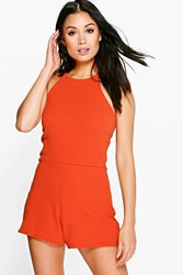 Boohoo High Neck Playsuit Spice