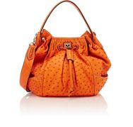 Zagliani Ostrich Ziz Medium Bucket Bag Orange