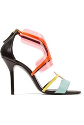Pierre Hardy Pvc Trimmed Neon Leather Sandals Black