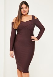 Missguided Plus Size Purple Cold Shoulder Bandage Bodycon Dress Plum
