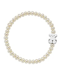 Tous Cultured Freshwater Pearl Bear Charm Bracelet