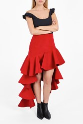 Jacquemus Women S Asymmetric Ruffled Skirt Boutique1 Red