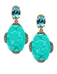 Oscar De La Renta Crystal And Engraved Flower Drop Clip On Earrings Blue