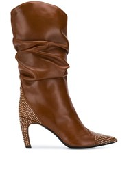 Aldo Castagna Ruched Studded Boots Brown