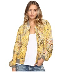 Free People Daytrip Printed Bomber Gold Women's Coat