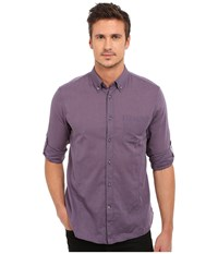 John Varvatos Roll Up Sleeve Shirt W Button Down Collar Single Pocket Mulberry Men's Long Sleeve Button Up Purple