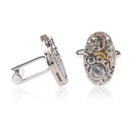 Lc Collection Hamilton Art Deco Watch Movement Cufflinks With Decorated Metal Silver