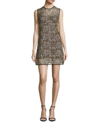 Milly Sleeveless Jewel Neck Sequined Tulle Shift Dress Gold