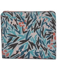 Fossil Logan Small Bifold Wallet Blue Floral Gold
