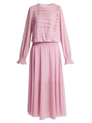 Preen Line Salome Drop Waist Silk Georgette Dress Pink