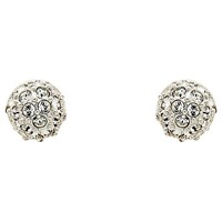 Cachet Swarovski Crystal Pave Ball Stud Earrings Silver