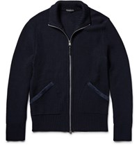Tom Ford Suede Trimmed Tuck Stitch Wool Zip Up Sweater Navy