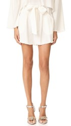 Kendall Kylie Frayed Twill Shorts Bright White
