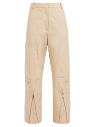Stella Mccartney Zip Front Cotton Blend Trousers Light Pink