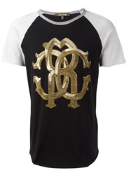 Roberto Cavalli Two Tone Metallic Monogram Logo T Shirt Black