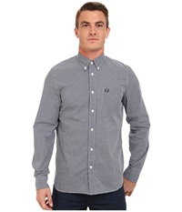 Fred Perry Classic Gingham Shirt Medieval Blue Men's Clothing Navy