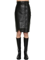 Sportmax Leather Midi Skirt Black