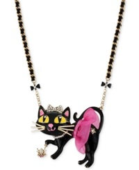 Betsey Johnson Antique Gold Tone Tutu Cat Pendant Necklace