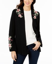 Charter Club Embroidered Cardigan Created For Macy's Deep Black