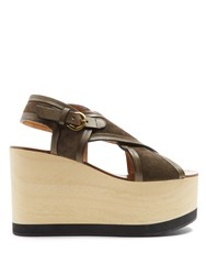 Isabel Marant Zlova Cross Strap Canvas Wedges Khaki