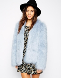 Pull And Bear Pullandbear Faux Fur Jacket Babyblue