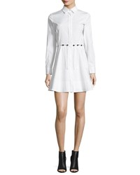 Alexander Wang Button Trim Long Sleeve Cotton Shirtdress White