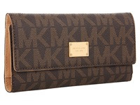 Michael Michael Kors Jet Set Checkbook Wallet Brown Leather W Pvc Logo Checkbook Wallet