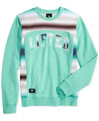 Lrg Men's Peoples Graphic Print Embroidered Applique Sweater Sea Green Heather