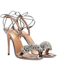 Aquazzura Monaco 105 Patent Leather Sandals Grey