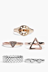 Boohoo Mixed Metal 5 Piece Ring Pack Multi