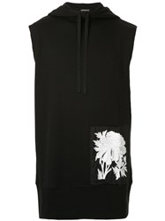 Ann Demeulemeester Floral Embroidered Sleeveless Hoodie Black