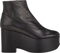 Jil Sander Navy Leather Platform Wedge Booties Black Size 10.5