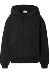 Acne Studios Embroidered Cotton Jersey Hooded Top Black