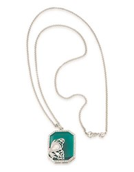 Carolee Wall Street Silvertone Butterfly Pendant Necklace Green