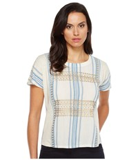 Lucky Brand Metallic Embroidered Top Natural Multi Women's Short Sleeve Pullover