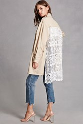 Forever 21 Lace Back Trench Coat Taupe