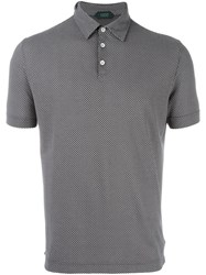 Zanone Patterned Polo Shirt Grey