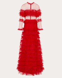 Valentino Tulle Evening Dress With Ruffles Red 100 Poliammide