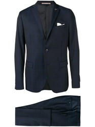 Paoloni Check Two Piece Formal Suit Blue