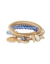 Design Lab Lord And Taylor Layered Beaded Bangle Charm Bracelets Blue