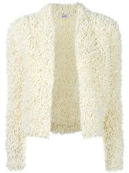 Max Mara Furry Detail Cardigan White