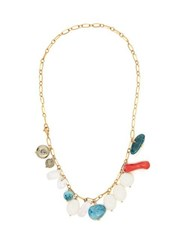 Timeless Pearly Stone Charm Chain Anklet Blue
