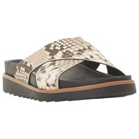 Bertie Lyberty Cross Strap Sandals Natural Reptile