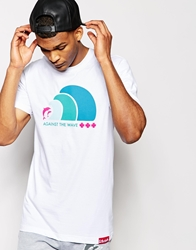 Pink Dolphin Waves T Shirt White