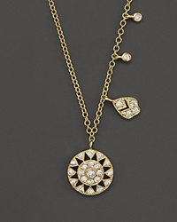 Meira T 14K Yellow Gold Antique Pendant Necklace With Diamonds 16