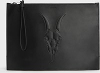 Allsaints Stockwell Leather Clutch Bag Black