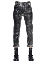 Diesel Black Gold Boyfriend Fit Coated Stretch Denim Jeans Black Beige