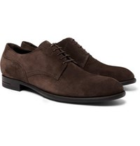 Ermenegildo Zegna Rivoli Flex Suede Derby Shoes Dark Brown