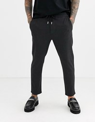 Only And Sons Drawstring Highlight Check Trousers In Grey