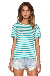 Sundry Striped Loose Crew Neck Tee Green